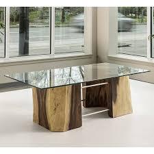 Acacia Table Freeform Glass Top Coffee Table In Acacia Terramai Pdx