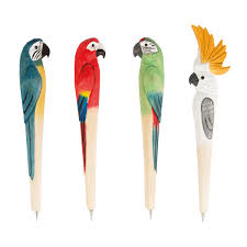 parrot paradise carved wood pen options available