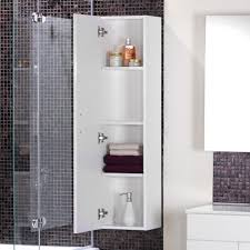 brown ceramic wall panel and shower oom with white shelf cabinet