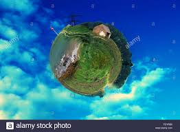 house planet mini world photoshop manipulation stock photo royalty free image