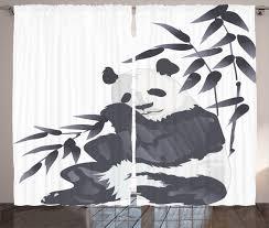 animal curtains 2 panels set panda in zoo chinese home decor ebay