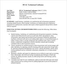 Hvac Installer Job Description For Resume by Resume Templates Hvac And Refrigeration Resume Hvac Resume