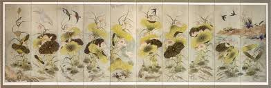 file korean folding screen ink and color paintings of lotus fish