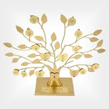 gold personalized family tree stand 50th anniversary gift