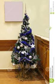 Christmas Tree With Blue Decorations - christmas blue and silver christmas tree with details in the