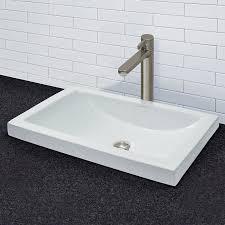 semi recessed bathroom sinks decolav breanna classically redefined ceramic rectangular vessel