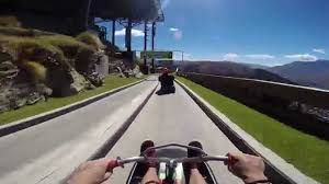 a first person view of a thrill ride at skyline queenstown luge in