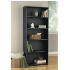 black bookshelf with cabinet amazon com black oak color 5 shelf wood bookcase kitchen dining