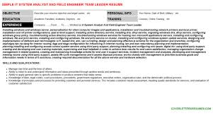 it system analyst and field engineer team leader cover letter u0026 resume