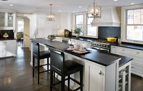 White Kitchen Cabinets With Black Countertops Wood Floor Kitchen With White Cabinets And Wood Floors Top Home Design