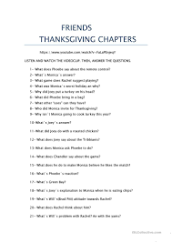 friends thanksgiving episodes worksheet free esl printable