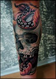 realistic 3d snake with skull tattoo design for leg by coryc