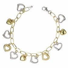 silver heart pendant bracelet images Two tone bonded gold and silver heart charm bracelet 7 25 quot jpg