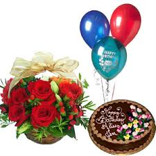 birthday cake and balloon delivery basket of 15 roses with 1 pound fresh chocolate cake and