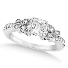 princess cut white gold engagement ring princess cut butterfly engagement ring 14k white gold 0 50ct