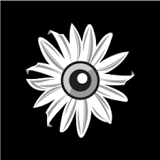 flower clipart black sun flower with a eye with white