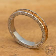 wood inlay titanium 3mm engraved side scroll ring with koa wood inlay