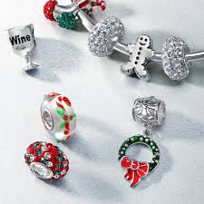 925 silver dangling christmas wreath charm pandora compatible bead