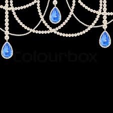 sapphire pearl necklace images Hanging pearl necklace jewelry with sapphire pendants on black jpg