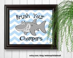 little sharks brush their teeth wood sign shark bathroom