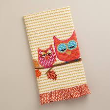 applique cotton kitchen towels with owl deck out your kitchen