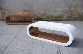 large oval coffee table in white high gloss and zebrano gloss from