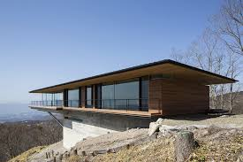 Glass Wall House by Architecture Wooden Terrace In Amazing Contemporary Cantilevered