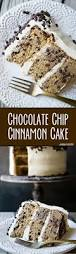 cinnamon chocolate chip cake with brown sugar cream cheese