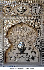 mirror ornaments on the of victory jai mandir fort of