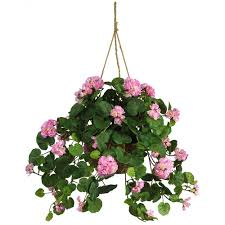 hanging flowers nearly silk geranium hanging basket 6609 pk the home depot
