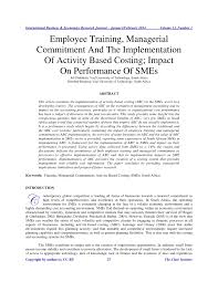 employee training managerial commitment and the implementation of