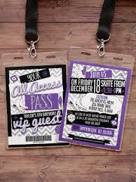 ice skating invitation birthday vip pass backstage pass
