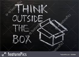 chalk drawing concept of think outside the box image