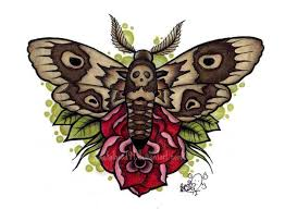 red rose and moth tattoo design