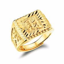 men golden rings images Pure gold color quot wealth quot chinese letter men 39 s ring hip hop jpg
