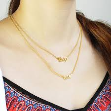 necklace double layer images Double layer mini name necklace 18k gold plated jpg
