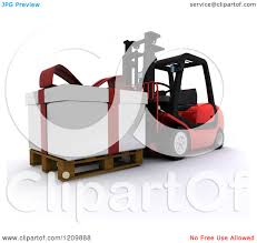 clipart of a 3d christmas delivery gift present on a red forklift
