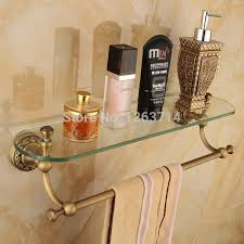 glass tier wall mounted bathroom shelf antique brass cosmetic
