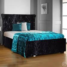Crushed Velvet Bed Free Delivery Cbs Holly Diamante Crushed Velvet Bed Frame
