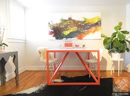 coral paint creates a vibrant space for creative work