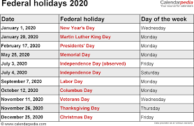 federal holidays 2020 usa png