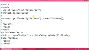 javascript tutorial how to show date in a webpage using