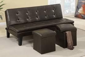 poundex f7197 espresso faux leather sofa futon with 2 storage ottomans
