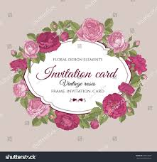 pink invitation card vector floral frame red pink roses stock vector 290618447