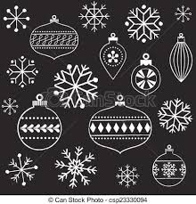 eps vectors of chalkboard snowflakes and ornaments vintage