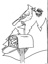 coloring page christmas mailbox and bird coloring me
