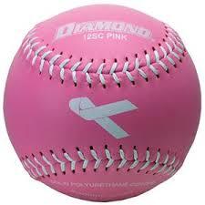 baseball ribbon diamond pink ribbon leather softballs closeout sale baseball