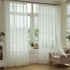 Modern Pattern Curtains Modern Linen White Sheer Curtain With Striped Pattern