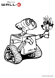 wall e giving flowers to eve coloring pages hellokids com