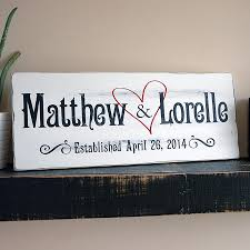 hand painted family established sign first name last name sign